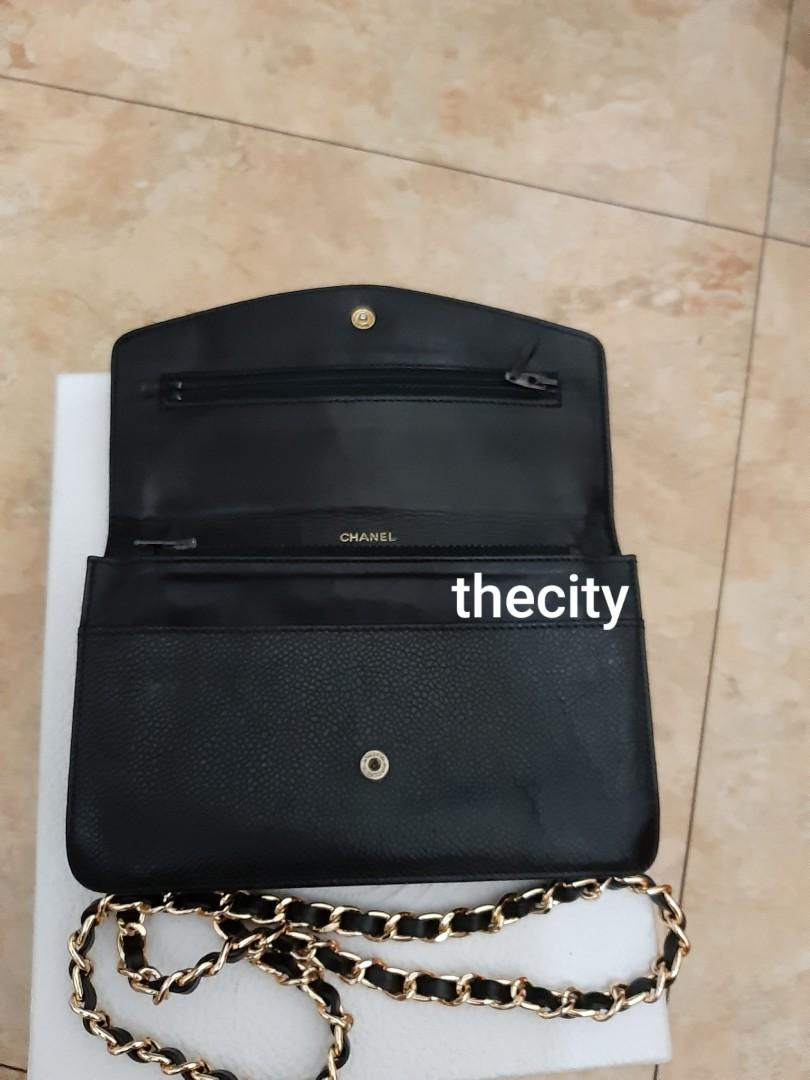 AUTHENTIC CHANEL XL ORGANIZER POUCH / WALLET - BLACK CAVIAR LEATHER- BIG CC LOGO DESIGN- GOLD HARDWARE- OVERALL GOOD - HOLOGRAM STICKER INTACT & COMES WITH AUTHENTICITY CARD - CLASSIC TIMELESS VINTAGE, SO NO FUSSY BUYERS-  WITH EXTRA ADD HOOKS & STRAP