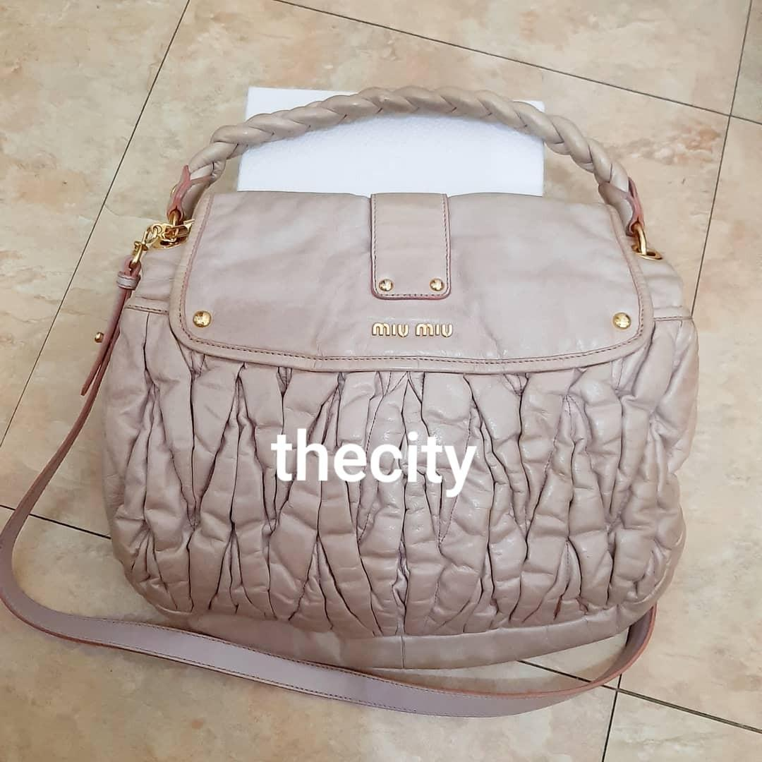AUTHENTIC MIU MIU LARGE LEATHER NAPPA COFFER BAG - GOOD CONDITION,  CLEAN INTERIOR- STRAP IS BRAND NEW (UNUSED STRAP) FOR CROSSBODY SLING - (BOUGHT AROUND RM 6000+)