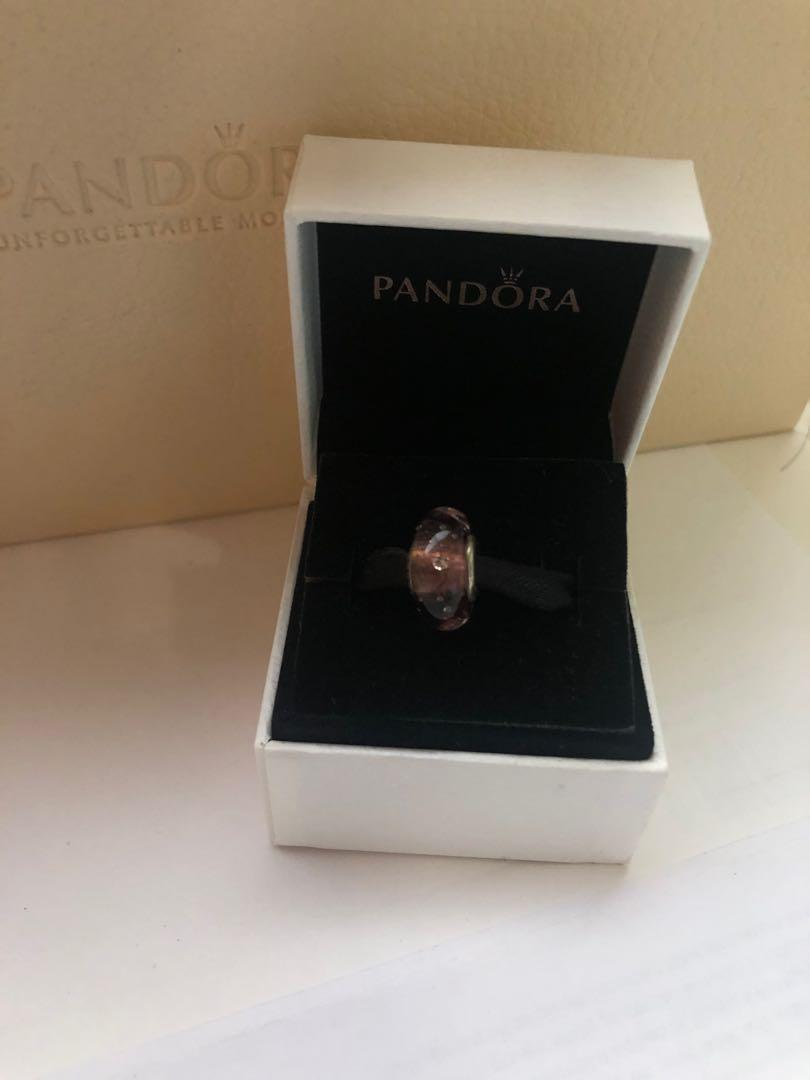AUTHENTIC Pandora Purple fizzle Murano glass charm