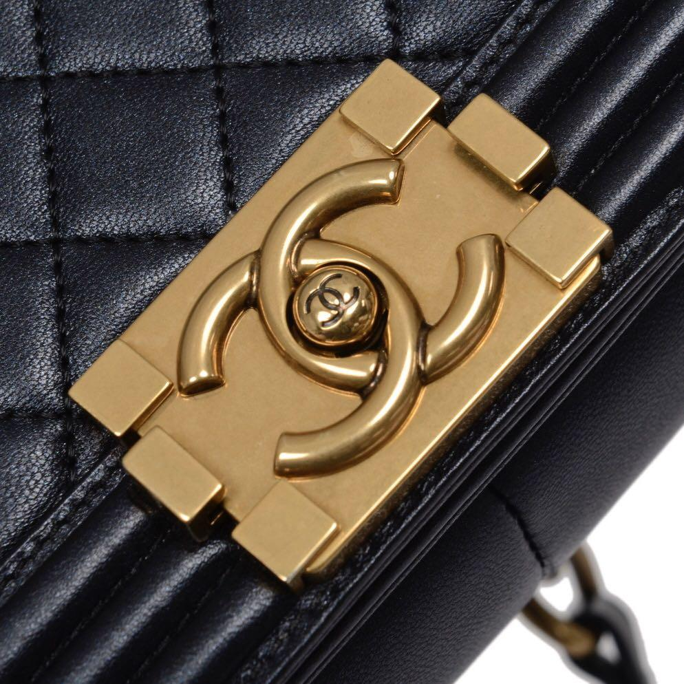 Authentic Pre-loved Chanel Leboy Large Quilted Black Lambskin Gold Hardware