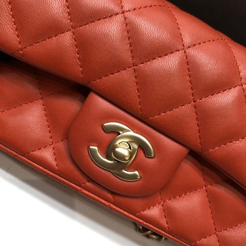 Authentic Pre-loved Chanel Red Lambskin Extra Mini Rectangular Gold Hardware