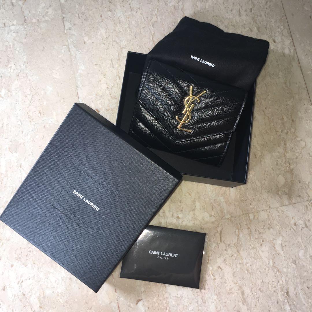 Authentic YSL Saint Laurent Wallet Monogram Compact Tri Fold Wallet in Grain de Poudre Embossed Leather