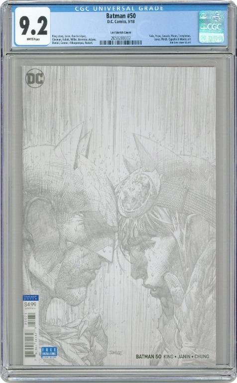 Batman (2016 3rd Series) 50E CGC 9.2  and  FREE RAY# 4 with BATMAN SKETCH ON COVER.