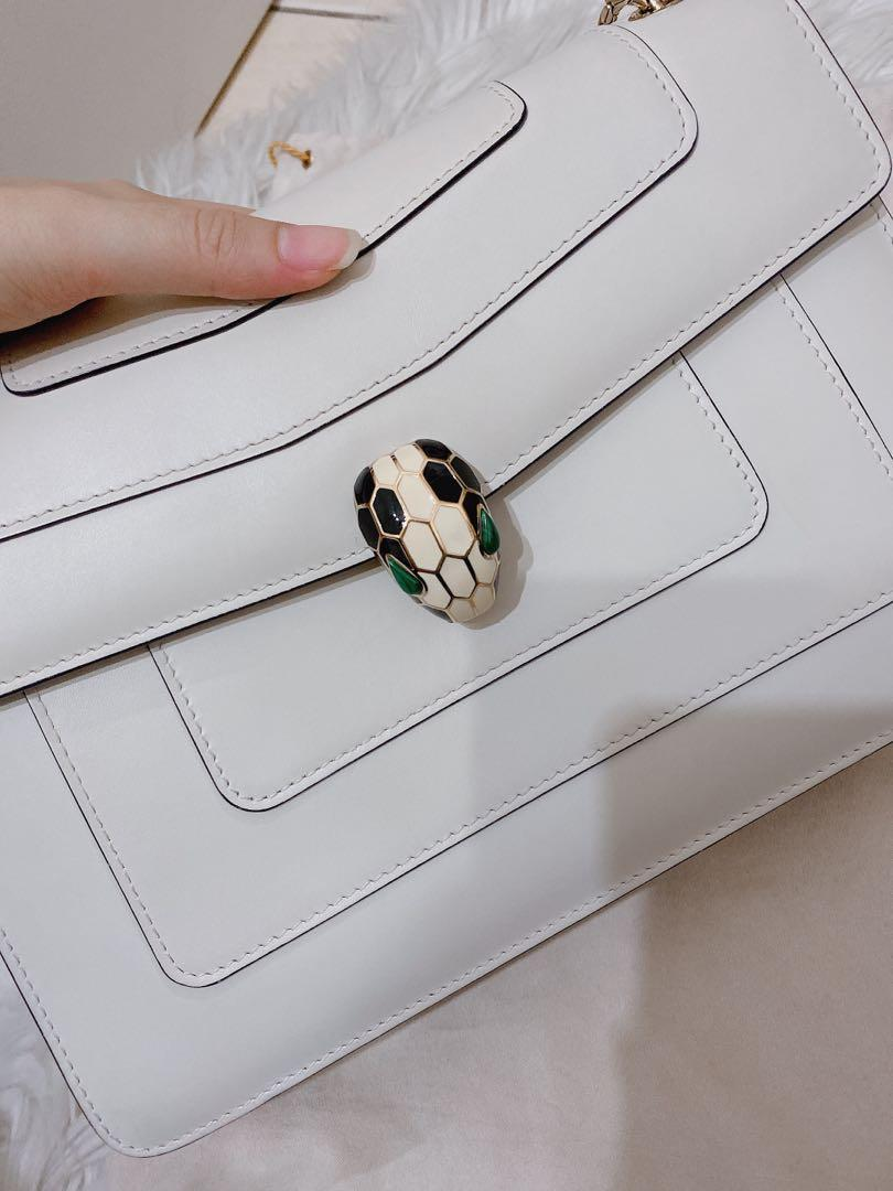 Bvlgari Authentic Serpenti Forever Flap Cover white shoulder bag large