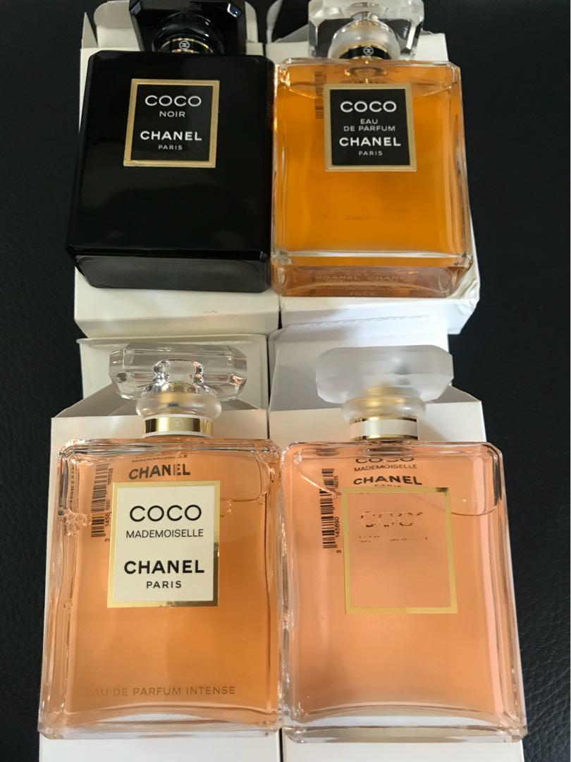 Chanel  perfume collection coco noir coco Mademoiselle intense