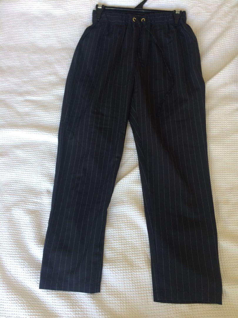 Classy navy blue business pants with white stripes