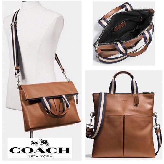 Coach F54759 Mens Charles Foldover Tote Crossbody Smooth Leather (Dark Saddle)  60% off 🔥