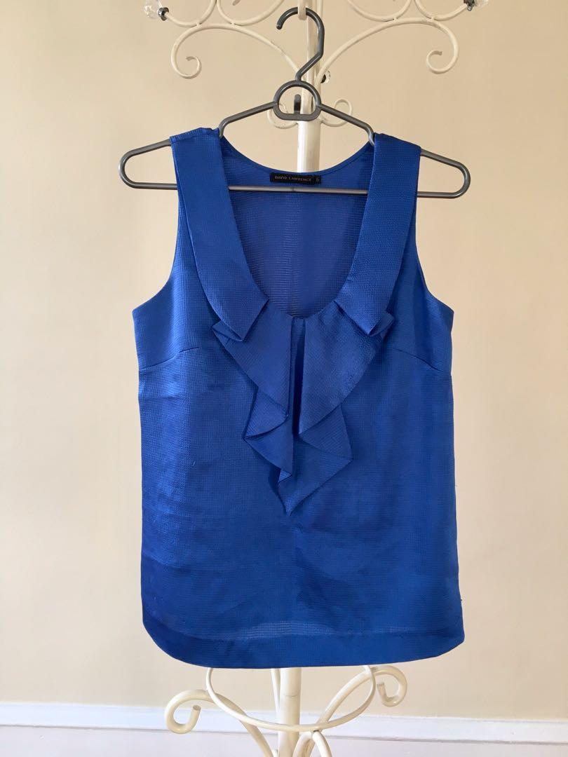 David Lawrence blue satin navy ruffle work top blouse
