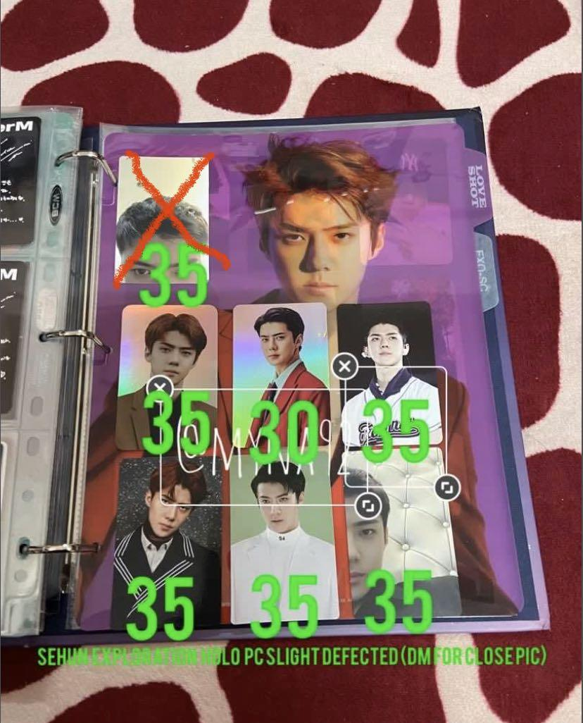 EXO Official Photocard for sales (Baekhyun, Chanyeol and Sehun)