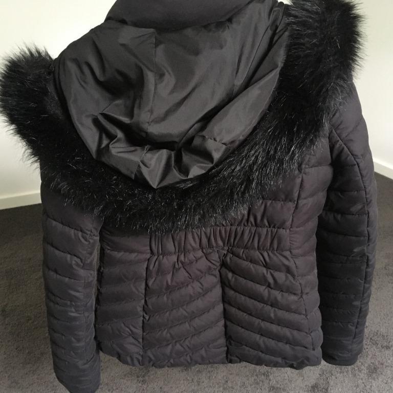 Forever New Haley Puffa Coat Puffer Jacket Black Fake Fur Winter AU Size 10