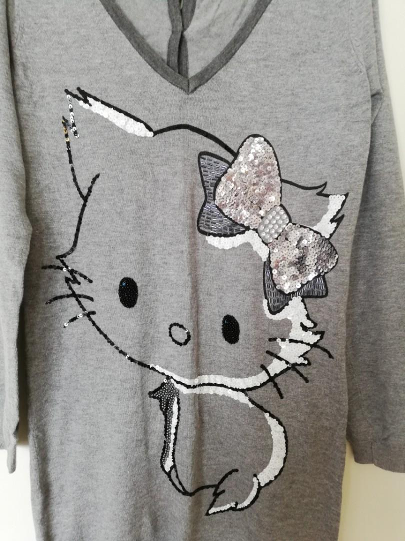 Freesize? - CharmmyKitty - Hello Kitty Style Long Grey Jumper/Dress w Cat Design Detail