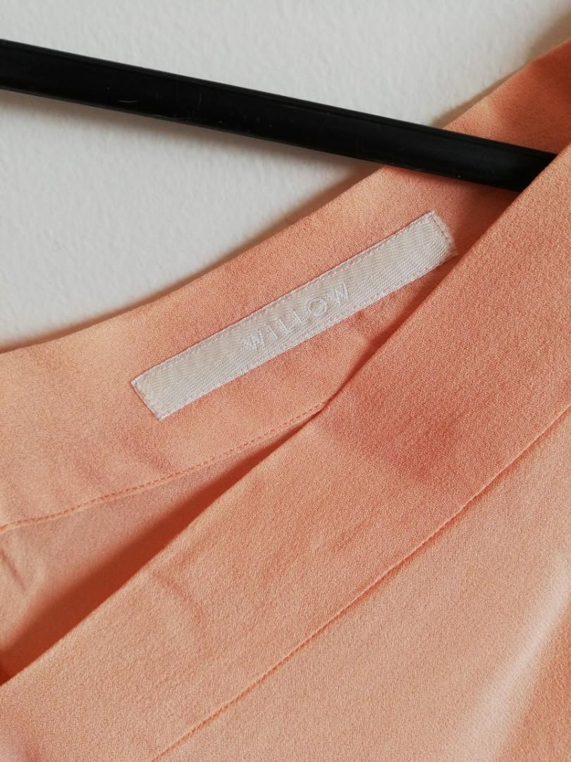 Freesize? - Willow - Peach Loose Lightweight Silky Mid-Sleeved Top