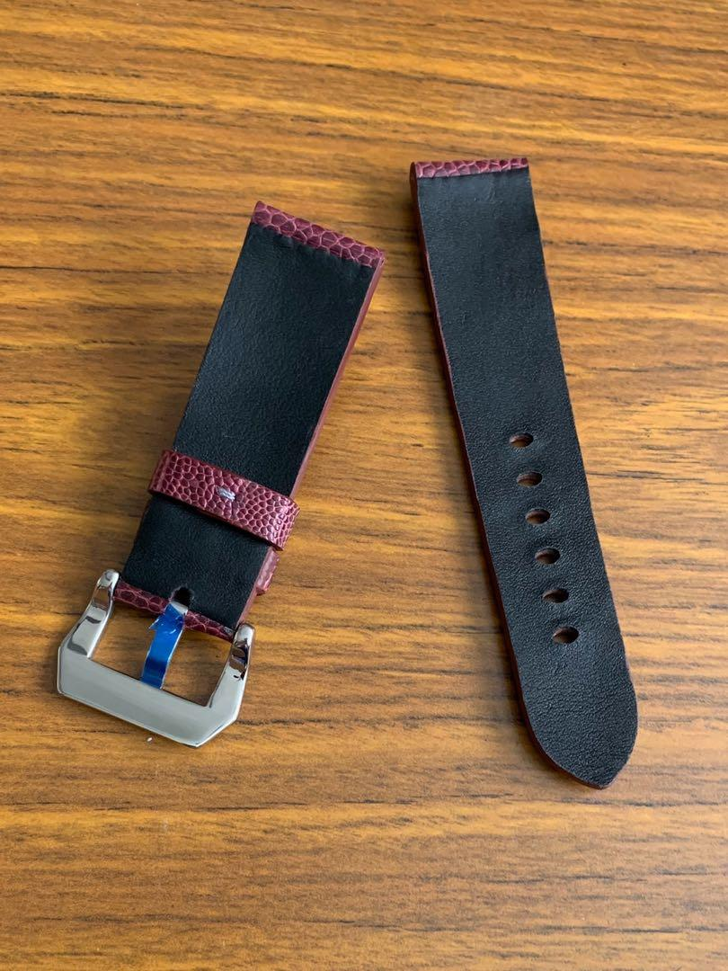 24mm/22mm Mauve Purple (Dark Purple) Ostrich Leg Watch Strap (only piece without stitching - no more once sold👍🏻 (Standard length-L-122, S-75)