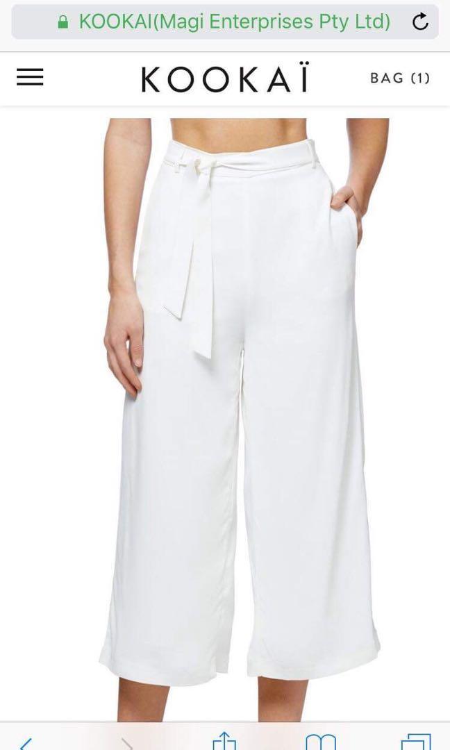 Kookai soraya pants (white culottes) size 8-10 / size 36