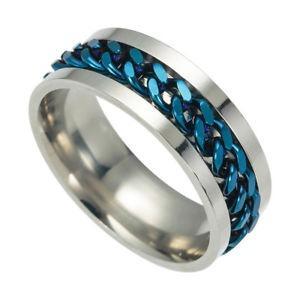 Men's Stainless Steel Rotating Spinner Ring (Size 8.5)