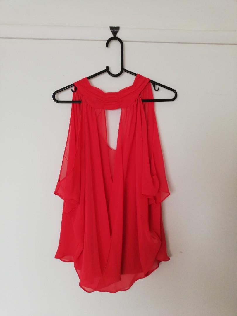 M/L - Blockout - Semi-Opaque Red Silky Loose Lightweight Sleeveless Top