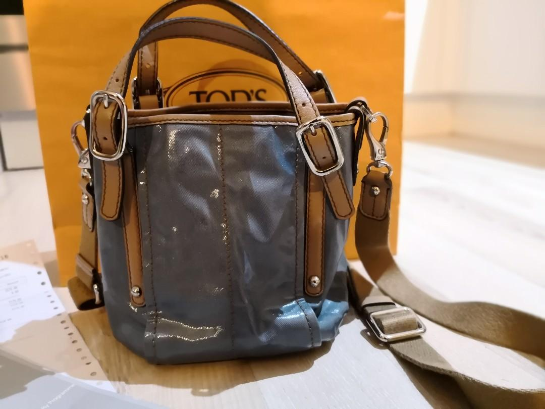 Pre-owned Tod's blue Coated Canvas Mini G-Line Easy Sacca Shoulder Bag