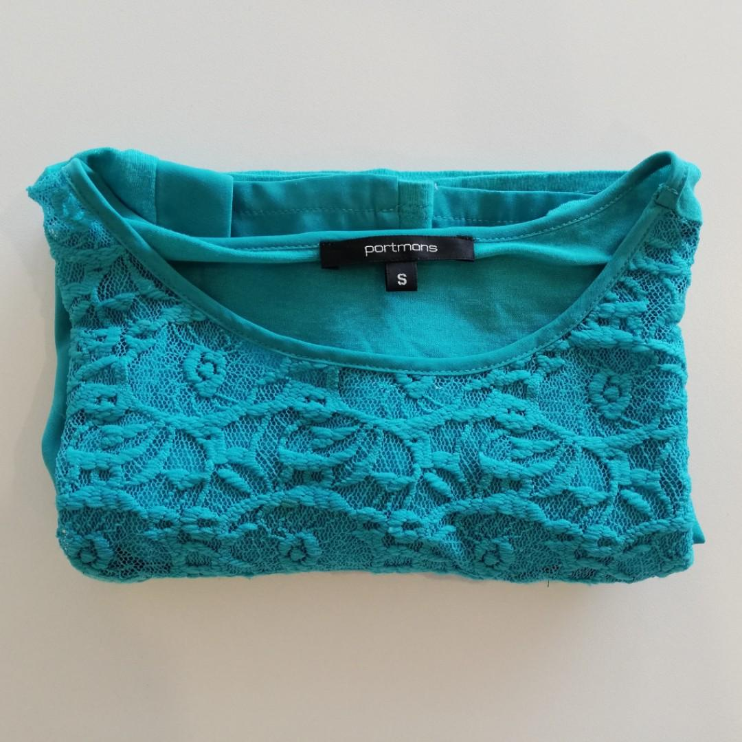 S - Portmans - Turquoise Blue T-shirt Style w Detailed Front & Square Neck Tee