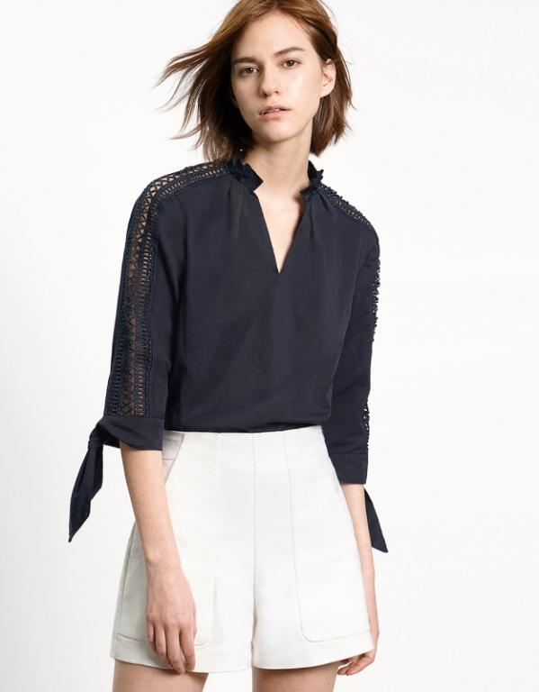 SaturdayClub - navy V-neck blouse top with cut out sleeves and side bows - size XS #swapau