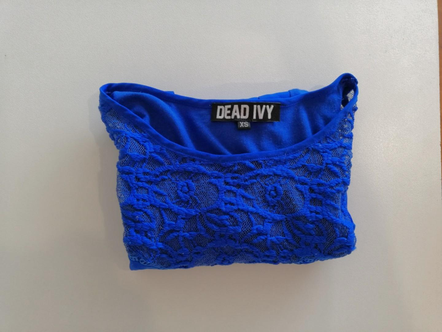 XS - Dead Ivy - Dark Blue Tee w Scoop Neck and Lace Detail