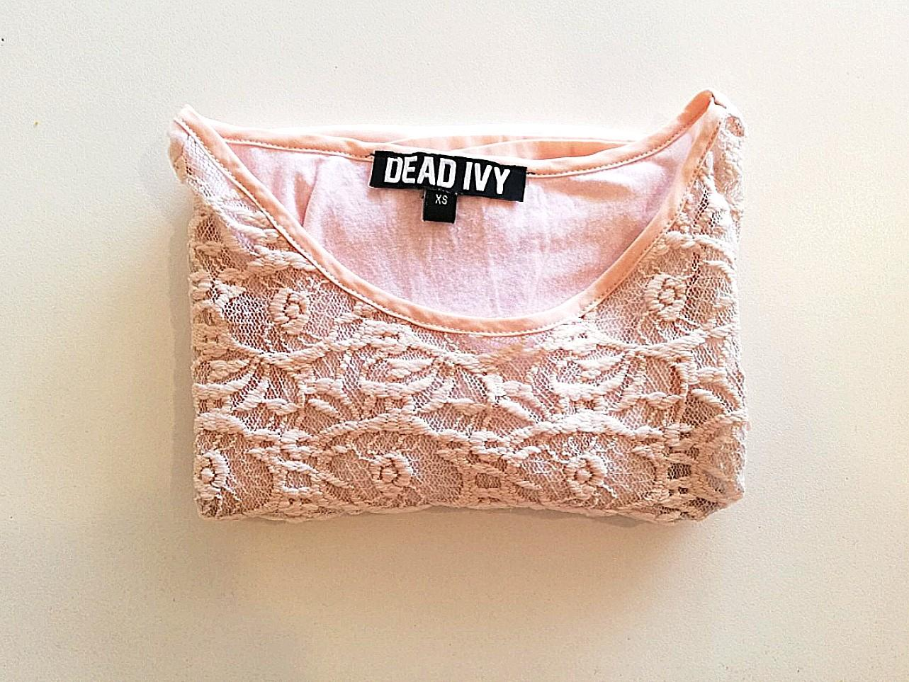 XS - Dead Ivy - Light Pink T-shirt with Lace Detail on Scoop Neck