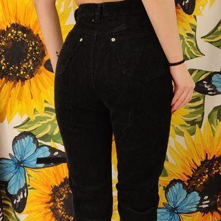 VINTAGE BLACK HIGH WAIST CORDUROY PANTS