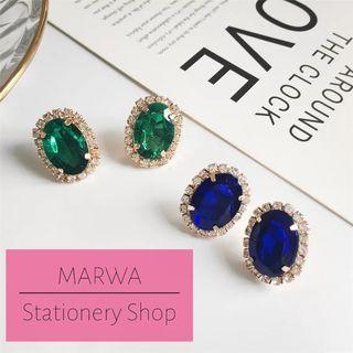 Gorgeous Temperament Exquisite Full Crystal Rhinestone Gem Stud Earrings  (E136A- E136B)