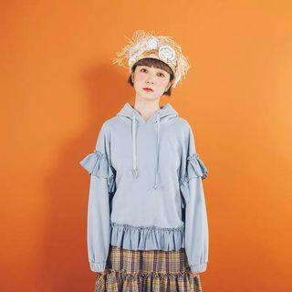 灰藍色荷葉邊帽T