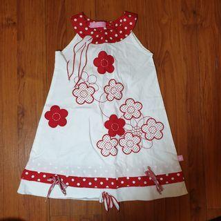 Dress bunga putih merah