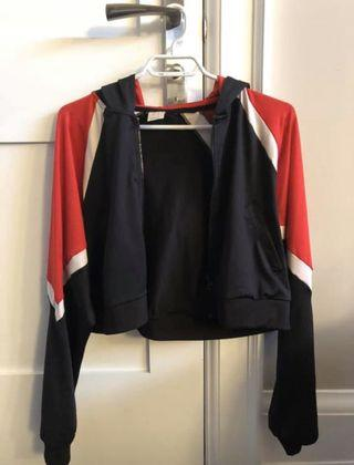 Cropped Activewear Zip Up Sweater