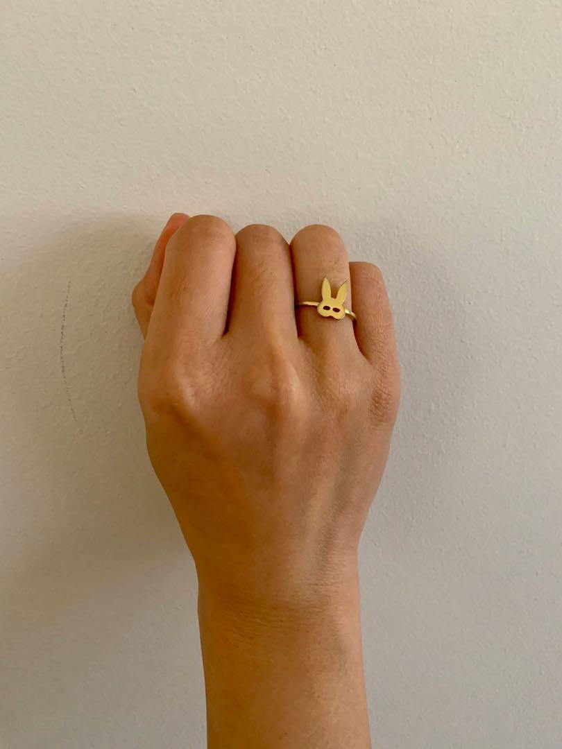 ARIANA GRANDE Dangerous Woman rabbit bunny gold coloured ring