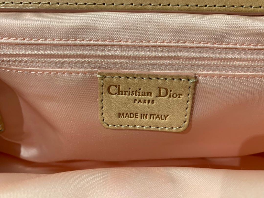 Authentic Christian Dior oblique pink leather handbag
