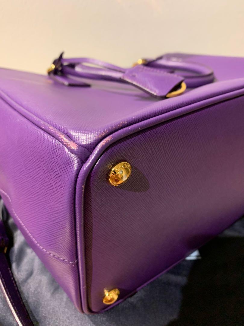 Authentic Prada Saffiano Lux Tote Handbag Purple Leather