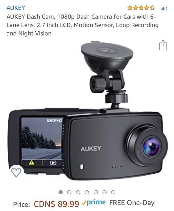 Brand new AUKEY dash cam 1080P motion censor night vision dash camera