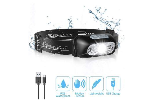 brand new LED headlamp 200 lumen 4 modes rechargeable IPX6 waterproof