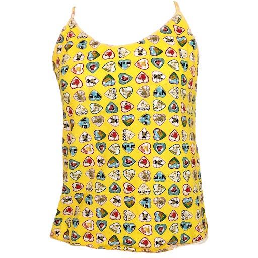 Chanel pre-owned coco heart print sleeveless yellow camisole top