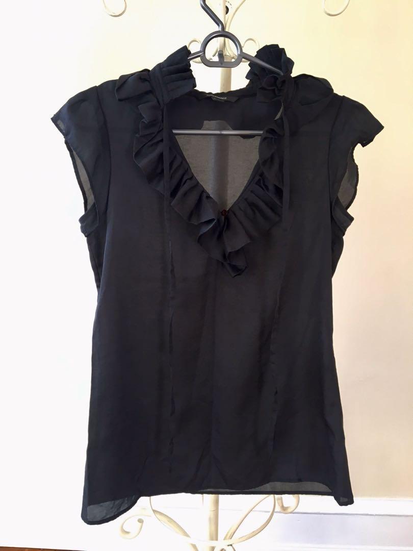 Club monaco American designer black ruffle silk work evening cocktail top blouse size 6