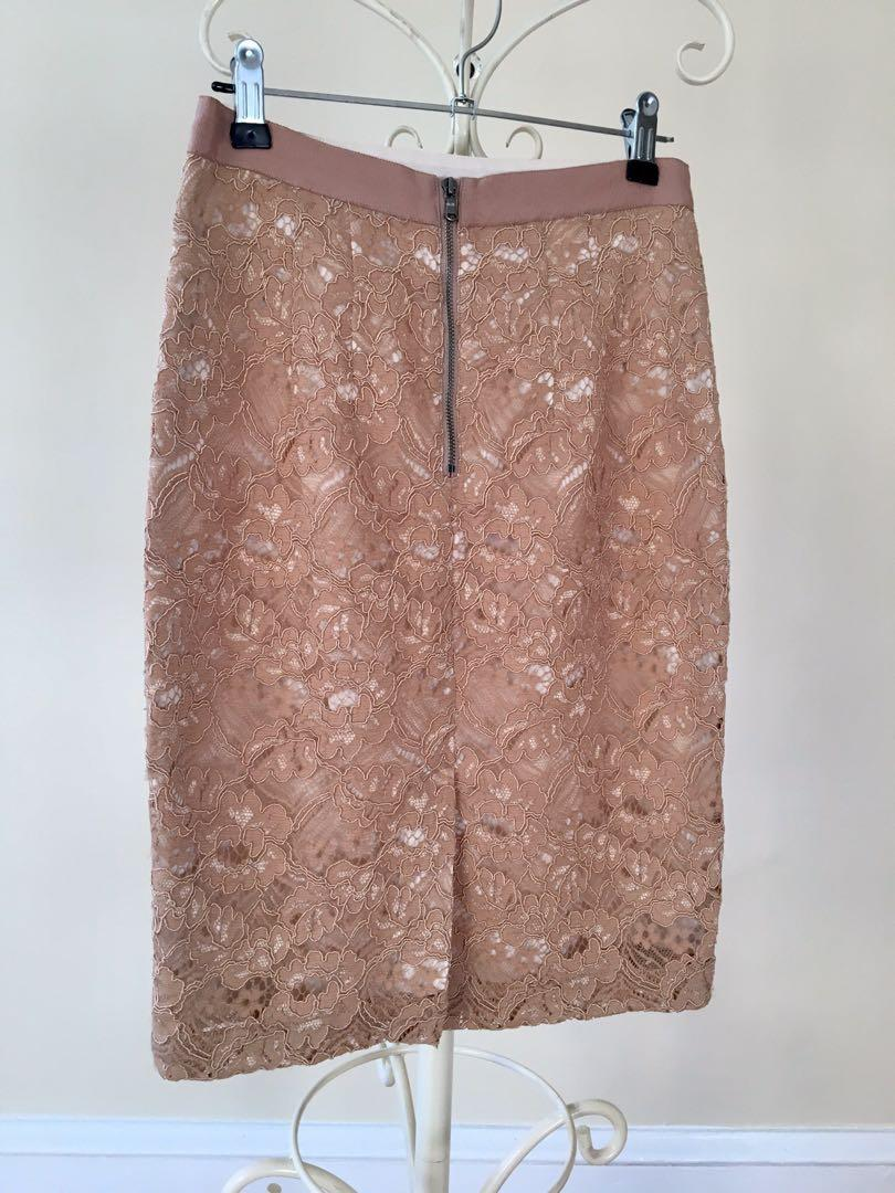 Club monaco American designer lace nude brown pink work evening cocktail summer spring skirt size 6