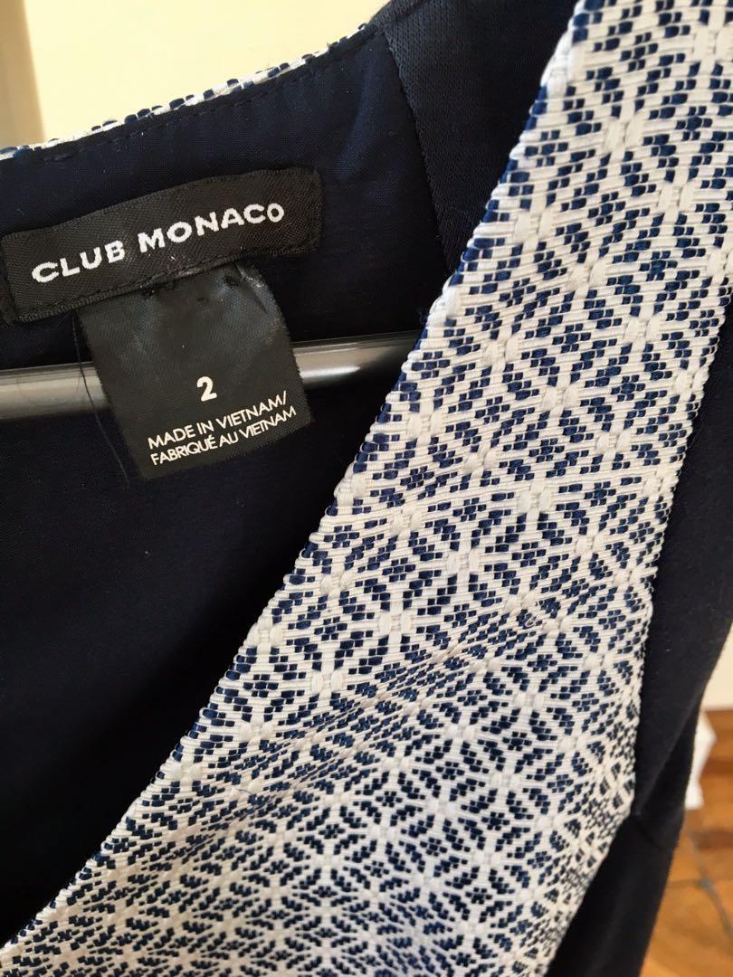 Club Monaco American designer work dress shift sheath body on black navy pattern white size 8