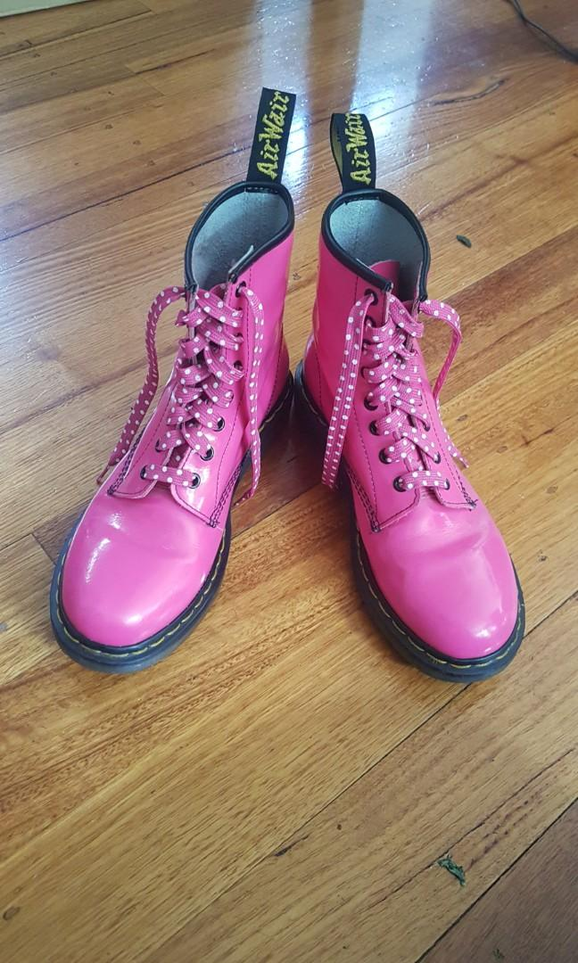 Dr. Martens Pink Patent Leather Boots, Ladies Size 41