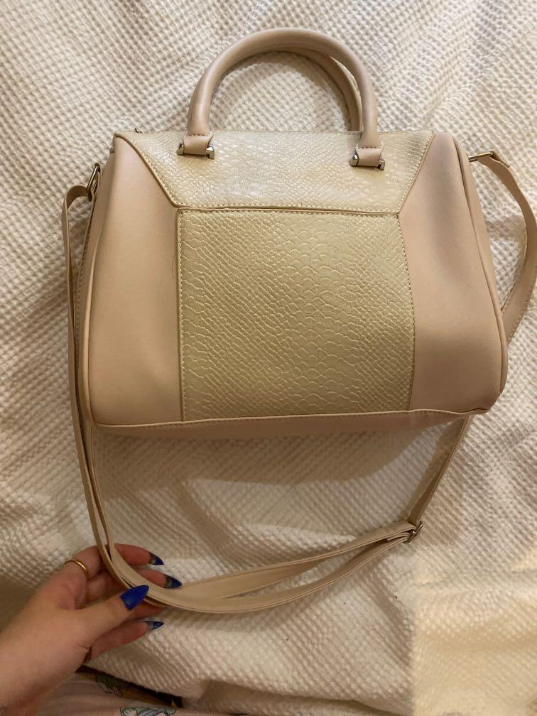 Dusty Baby Pastel Pink Bowler Bag with Croc Detailing