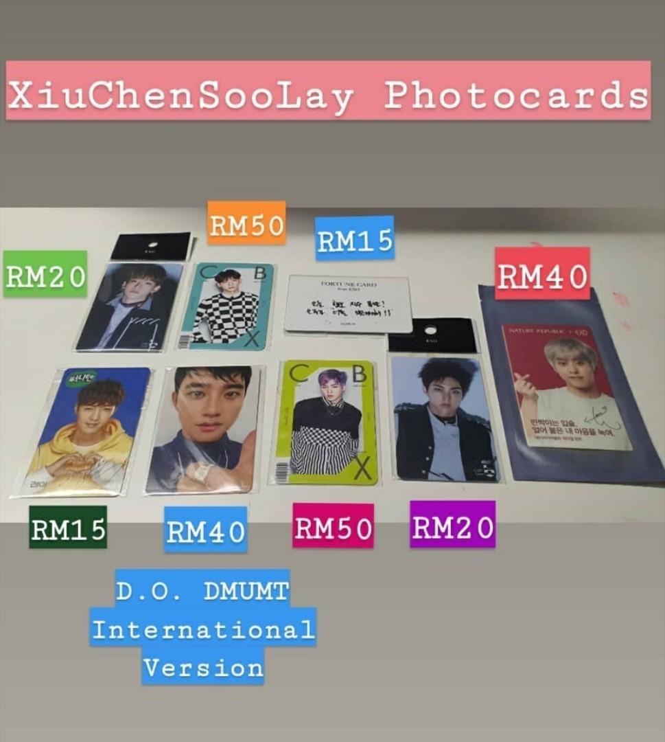 Exo Baekhyun Chanyeol Kai D.O. Lay Xiumin Chen Photocard