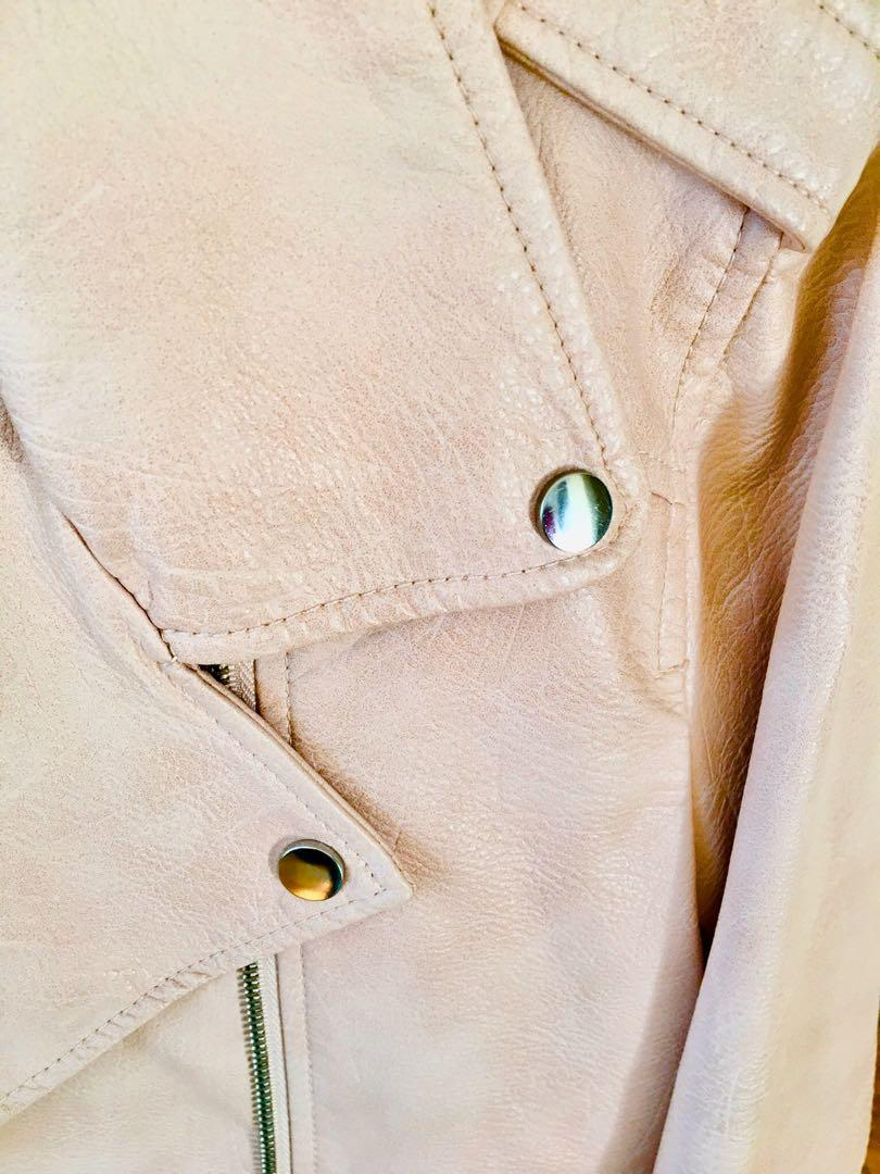 Faux leather pink silver metal moto jacket winter autumn size 8