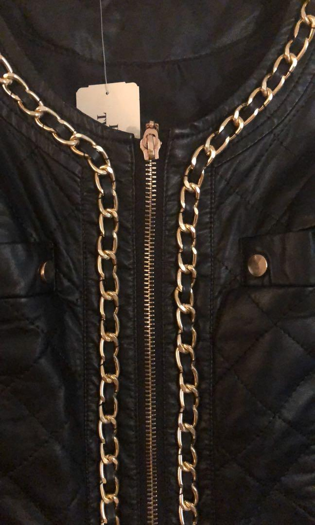 Forever 21 faux leather jacket with gold chains🌟Reduced!