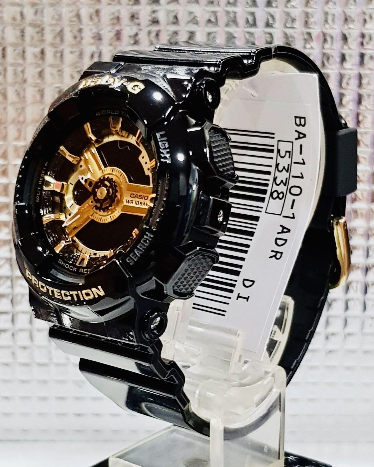 NEW🌟BABYG UNISEX SPORTS WATCH : 100% ORIGINAL AUTHENTIC ( GSHOCK  ) CASIO BABY-G-SHOCK : BA-110-1A / BA110-1A (GLOSSY BLACK-GOLD)