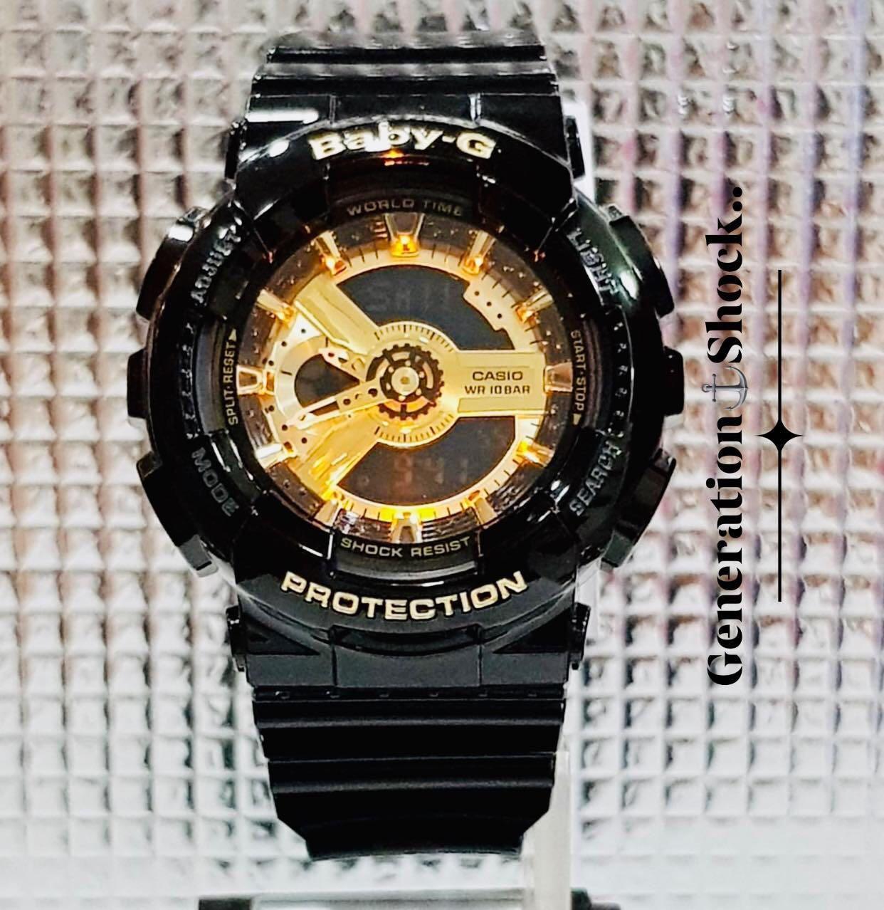 NEW🌟COUPLE💝SET : BABYG🌟GSHOCK UNISEX DIVER SPORTS WATCH  : 100% ORIGINAL AUTHENTIC CASIO BABY-G-SHOCK : GA-110GB-1A + BA-110-1A  / GA-110-1A (GLOSSY BLACK-GOLD)