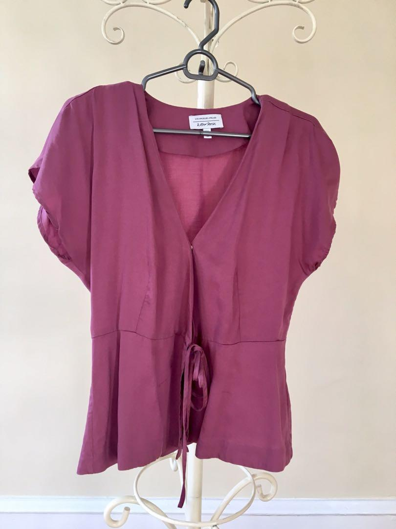 Other stories American designer fuschia magnetic purple pink soft silk effect wrap top blouse work size 8