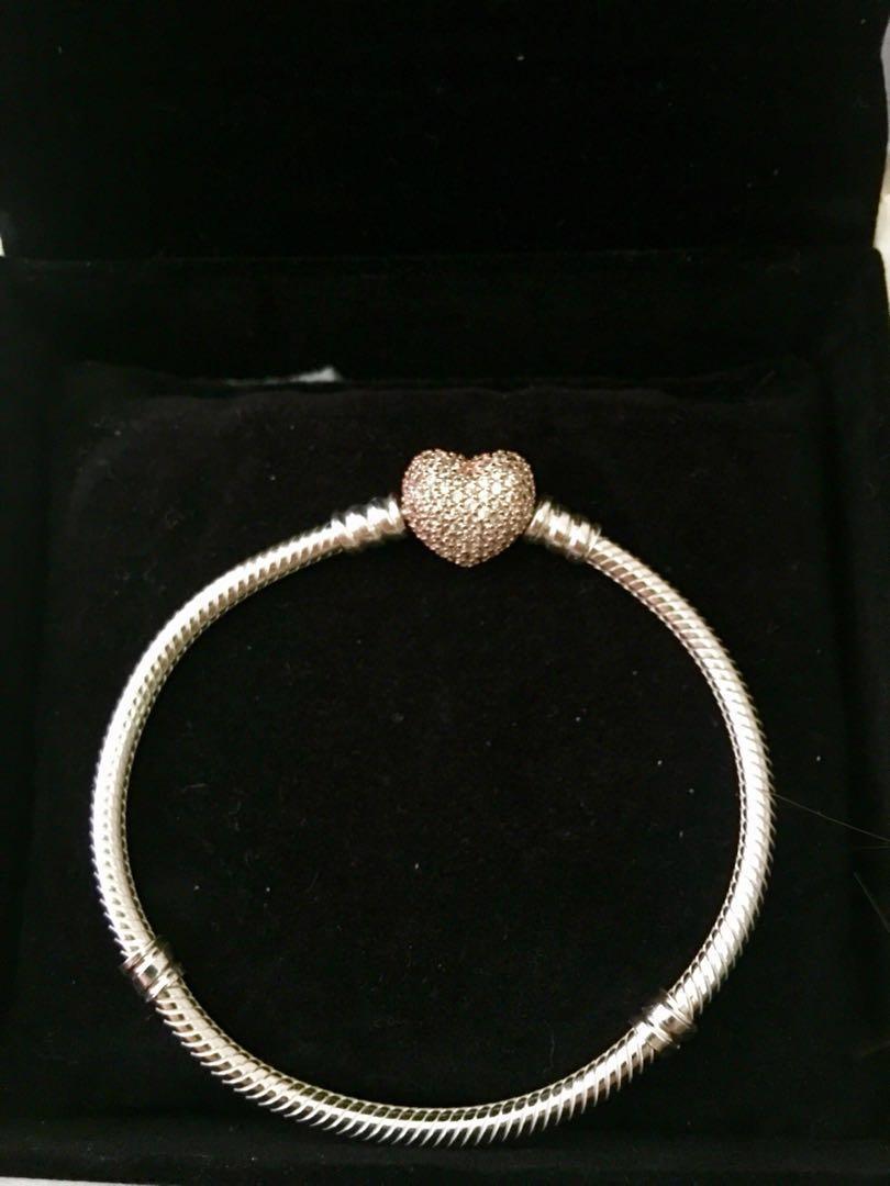 Pandora Moments Silver Bracelet Rose Gold Pave Heart - Size 17 - NEW
