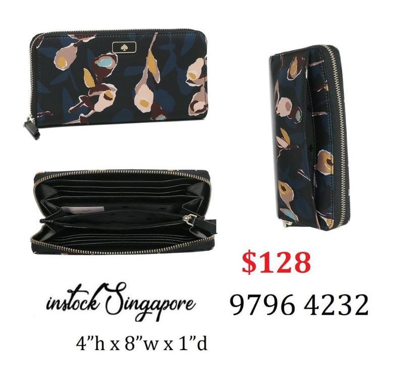 READY STOCK - AUTHENTIC - NEW Kate Spade Dawn Large Continental Nylon Zip Around Wallet WLRU5556 nylon