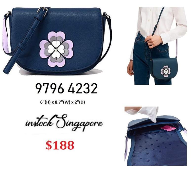 READY STOCK - AUTHENTIC - NEW Kate Spade New York Reiley Spade Flower Applique Flap Crossbody, Petrol Blue wkru6060